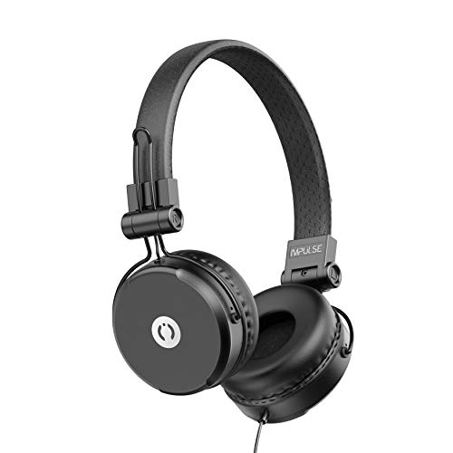 MuveAcoustics Impulse MA-1500SB Wired On-Ear Headphones with Microphone (Steel Black)