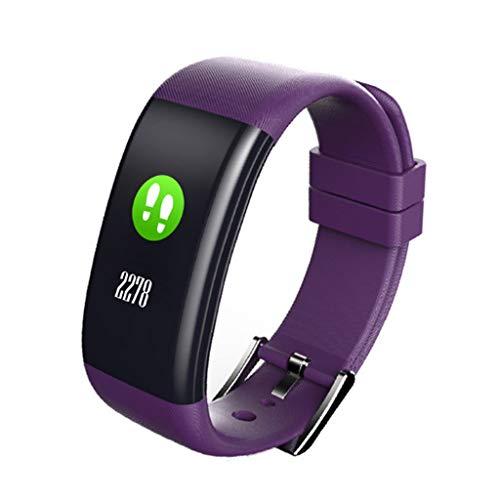 Blutdruck, Blut Sauerstoff Sauerstoff Armband Schrittzähler Schlaf Uuml, Überwachung Intelligente Farbe Touchscreen wasserdichte Armband Smartwatch (Lila)