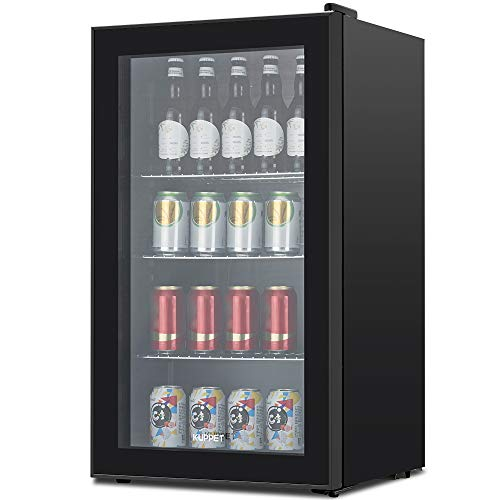 KUPPET 120 Can Beverage Refrigerator and Cooler - Mini Fridge with Glass Door and Adjustable Removable Shelves for Can Drinks, Soda Beer or Wine, 3.1 Cu.Ft Small Drink Dispenser for Home, Office Bar (Black)