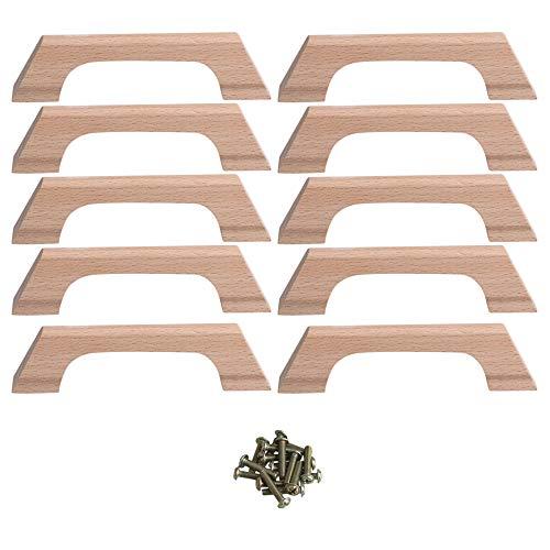 BQLZR Schubladengriffe aus Buchenholz, einfacher Stil, mit Schraublochabstand 96 mm, Gesamtlänge 120 cm, für Schrank, Schublade, Schuhkasten, Schrank, 10 Stück