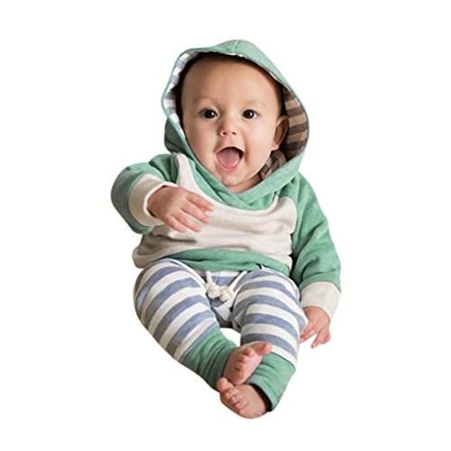 OVERDOSE 3pcs Kleinkind Baby Jungen Mädchen Kapuzepulli Kleider Hoodie Bluse Pullover Tops + Hosen + Stirnband Outfits Kleidung 3PCS Set (3-6 Monate, B-Green)