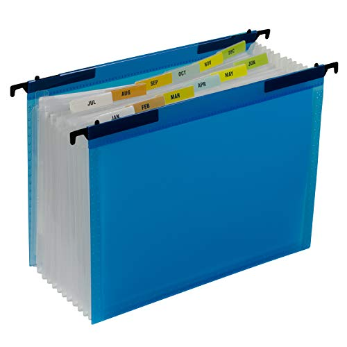 C-Line 13-Pocket Expanding File with Hanging Tabs, Bright Blue, 8-1/2' x 11' (58215)