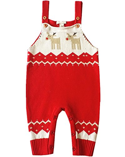 BESTERY REDODECO Baby Shoulder Strap Romper Christmas Deer Jumper Knitted Sweater Best Gift (Age 6-12 Months, Red)