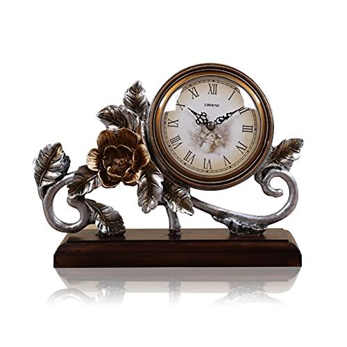 XGJJ Reloj de mesa de resina ornamentos sala de estar estante reloj mesita de noche creativo retro reloj decoración del hogar país jardín escritorio