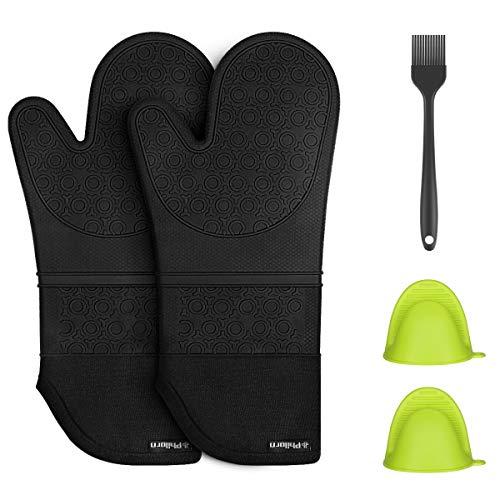 PHILORN Silikon Ofenhandschuh Grillhandschuhe Grill Lederhandschuhe Hitzebeständige Handschuh bis zu 230 °C Universalgröße Kochhandschuhe Backhandschuhe für BBQ Kochen Backen und Schweißen (Schwarz)