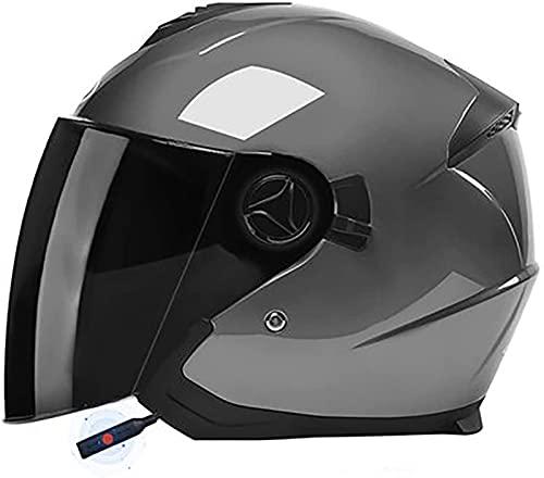 Casco De Motocicleta Jet Bluetooth, Casco De Motocicleta Abierto Certificación ECE/DOT Adultos...