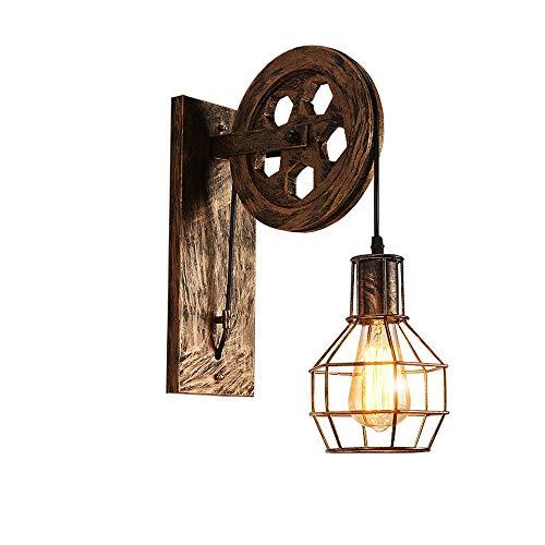 Lámparas de pared de engranajes industriales, American Creative LED Negro/Cobre antiguo/Polea de...
