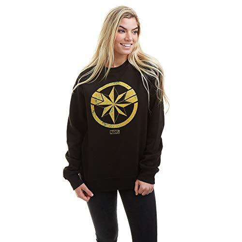 Marvel Captain Crew Sweat Suéter pulóver, Black, X-Large para Mujer