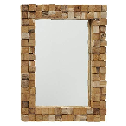 CasaJame Espejo de pared con marco de madera, diseño de mosaico, mediterráneo, Bali B65 x 85 x 4 cm