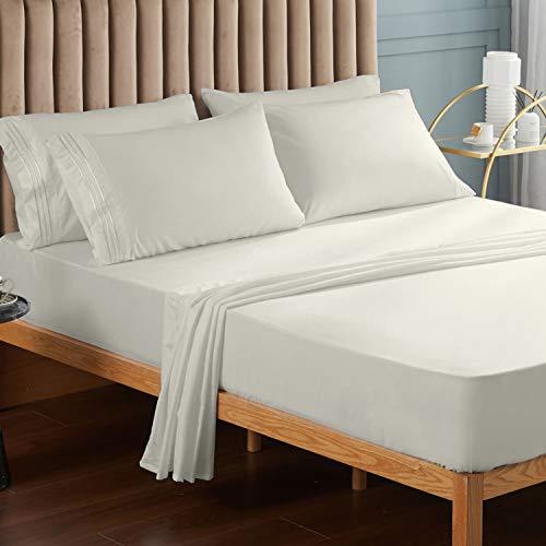Juego de ropa de cama de Veeyoo, antiarrugas, hipoalergénico, suave, 3piezas, color blanco, poliéster, crema, matrimonio grande