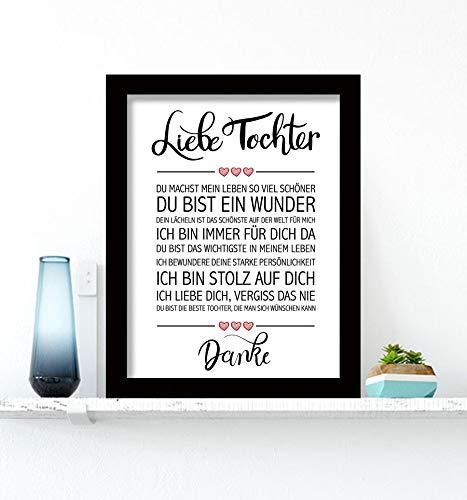 Close Up Beste Tochter - Danke Zitate Poster - Deko Geschenk zum Geburtstag, Weihnachten, jeden Tag - 30 x 40 cm, Premium Qualität - mit schwarzem Rahmen