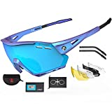 X-TIGER Gafas Ciclismo CE Certificación Polarizadas con 5 Lentes Intercambiables UV 400 Gafas,Ligero y cómodo de llevar, Variedad de estilos,Aplicar para motos,Deportes al aire libre