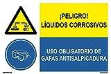 PRD2260203 - Señal Combinada ¡Peligro! Líquidos Corrosivos/Uso Obligatorio De Gafas Antisalpicadura Adhesivo De Vinilo 60x40 cm con CTE, RIPCI Nueva Legislación