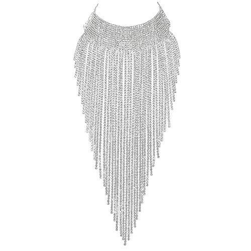 EVER FAITH Collier Femme Ras du Cou Choker Plastron Frange de Cristal Strass Accessoire pour Vêtement Costume Soirée Ton d'argent Clair
