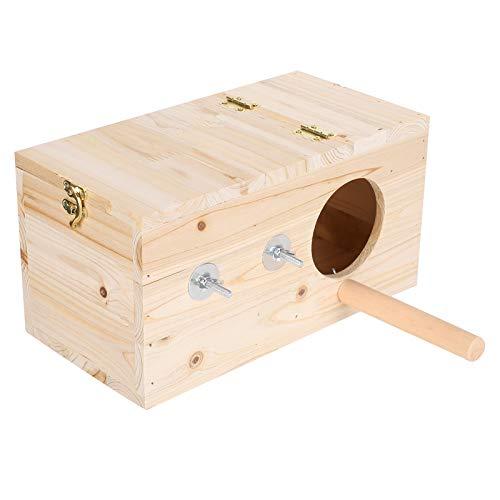 Zerodis Vogelzucht Box Papagei Zucht Nistkasten Holz Nistkasten Haus Bruthaus mit Barsch Spielzeug für Vogel Papagei M.
