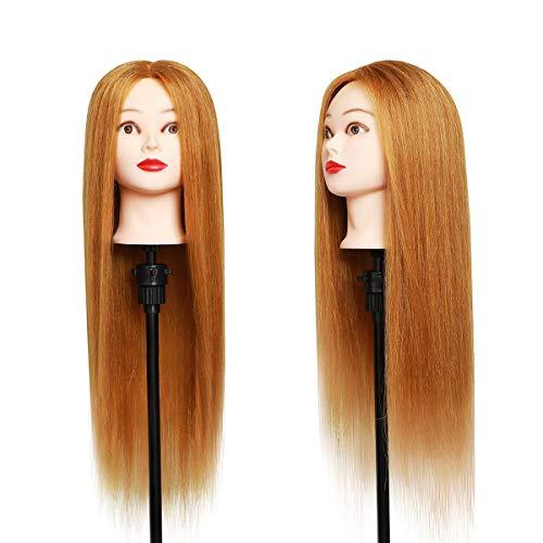 Testa per parrucchiere, DanseeMeibr 68,5cm 50% Capelli Veri Cosmetologia Allenamento Manichino Pratica Bambola per arricciatura con morsetto + styling dei capelli accessori (Marrone)