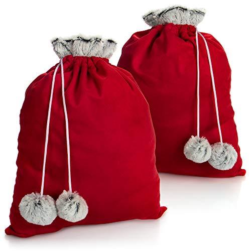 com-four® 2X Premium Weihnachtssack - roter Geschenkesack zum Befüllen - Weihnachtsbeutel mit Bommeln als Dekoration, tolle Geschenkverpackung (2 Stück mittelgroß)