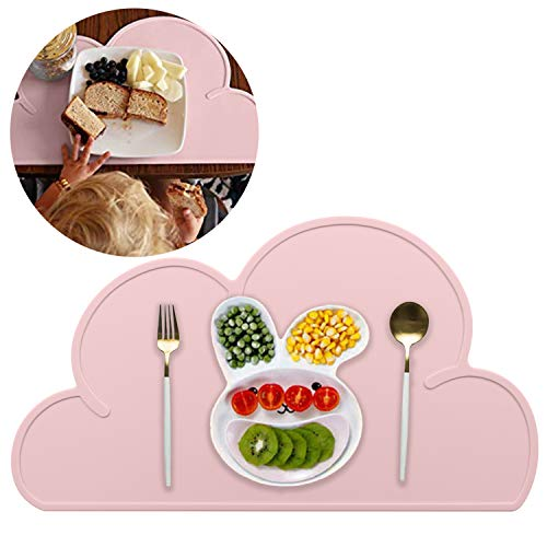 Kids Placemat - Silicone Cloud Shape Placemat Non Slip Placemat for Baby Toddlers, Portable Food Mat BPA Free Reusable Placemats for Travel and High Chairs-Easy to Clean and Roll Up (Pink)