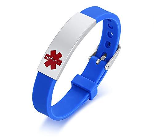VNOX Azul Acero Inoxidable Personalizado de Alerta Médica Brazalete de Silicona Ajustable,Grabado Gratis