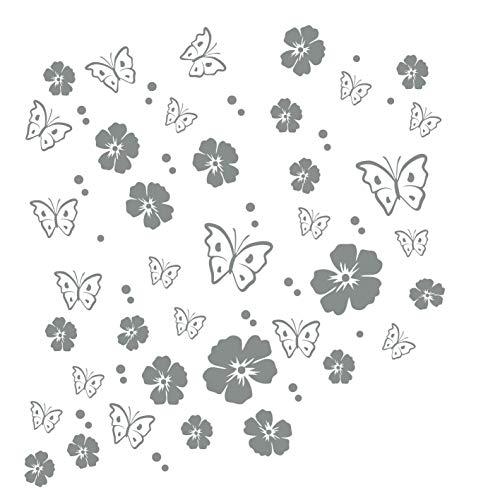 kleb-Drauf | 19 Blüten, 19 Schmetterlinge und 42 Punkte | Grau - glänzend | Autoaufkleber Autosticker Decal Aufkleber Sticker | Auto Car Motorrad Fahrrad Roller Bike | Deko Tuning Stickerbomb Styling