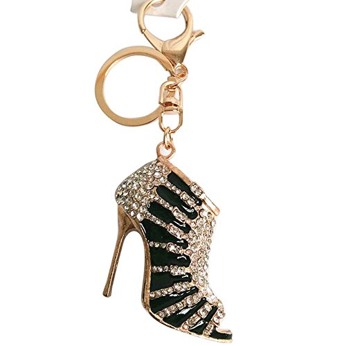 jieGorge Jewelry Products, Charm Crystal Shoe High Heel Keyring Purse Pendant Bag Key Chain Black, Jewelry for Women Gifts (Black)