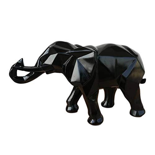 Resina Figuras geométricas de Elefantes Decoraciones de Origami Muebles de Animales Abstractos Escultura de Animales Adornos Adornos de Escritorio Artesanía 26 * 10 * 15 cm,Negro
