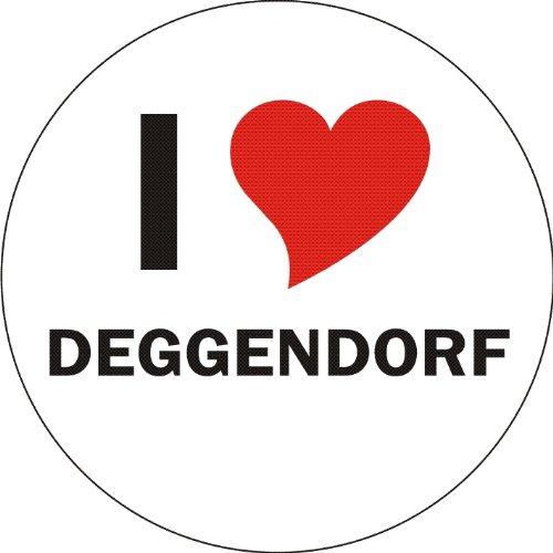Aufkleber / Sticker / Autoaufkleber - I LOVE Deggendorf - JDM / Die cut / OEM - Auto / Heckscheibe - aussenklebend, rund, Größe: 80mm