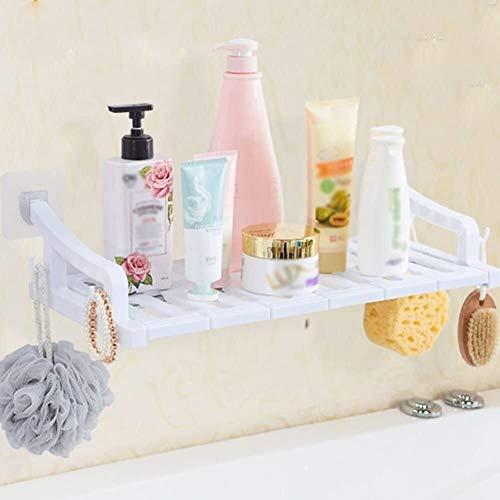 AINIYF Montado en la pared del baño plataforma de baño ducha Organizador de drenaje hueco Ambiental plástico + Tubos de acero inoxidable Gancho de las uñas libres de perforación No Trace pegatinas 5 M