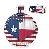 Manta de picnic grande con forma de corazón y bandera de Texas de América al aire libre, impermeable, práctica esterilla de picnic para la familia Camping Beach Park, redonda de 59 pulgadas