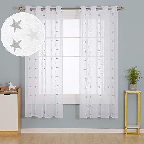 Doconovo Cortinas Visillos para Ventana Dormitorio Moderno con Ojales 140 x 175 cm 2 Piezas Gris Claro Estrellas y Blanco