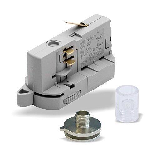 MULTI-adapter Universal Adapter GA69 für 3-Phasen Stromschienen inkl. Alunippel und Zugentlaster als komplett SET zur Leuchtenabhängung | versch. Ausführungen. (Grau)