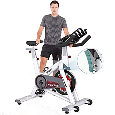 SNODE Indoor Cycling Bike Stationary - Exercise Bike with Magnetic Resistance, Belt Drive, Tablet Holder, LCD Monitor, Adjustable Seat for Home Cardio Exercise Training