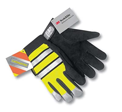MCR Safety Multi-Task Luminator Deerskin Glove, Black with Lime Fluorescent Polyester Back