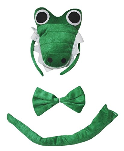 Petitebella Combined Cutie Animals Headband Bowtie Tail 3pc Costume (Crocodile, One Size)