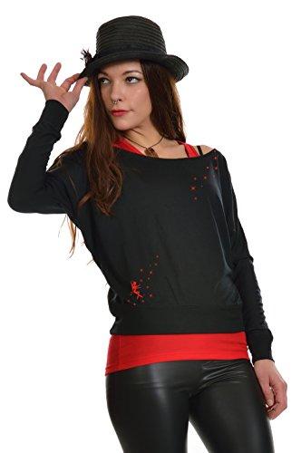 Feenstaub Longsleeve Langarm T-Shirt Damen Shirt locker U Boot 3 Elfen, schwarz rot XL, schulterfrei