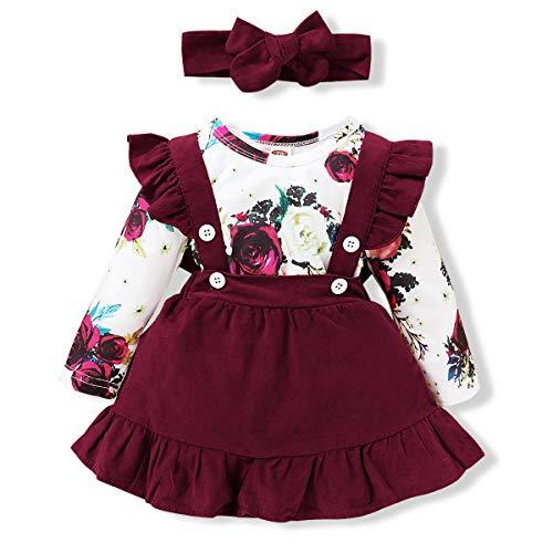 Toddler Baby Girl Suspender Skirt Sets Floral Long Sleeve Onesies Ruffle Infant Romper Suspender Skirt with Headband Newborn Overall Dresses 0-3 Months Red