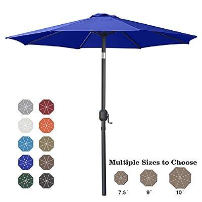 ABCCANOPY 9' Patio Umbrella Table Market Umbrella with Push Button Tilt for Garden, Deck, Backyard and Pool, 6 Ribs 13+Colors,Blue