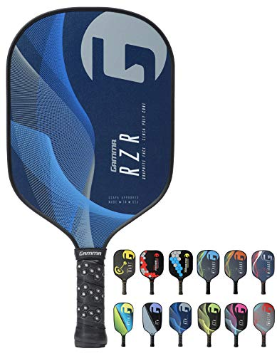 Gamma RZR Composite Pickleball Paddle: Pickle Ball Paddles for Indoor & Outdoor Play - USAPA Approved Racquet for Adults & Kids - Blue/Grey