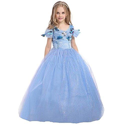 ELSA & ANNA® Mädchen Prinzessin Kleid Verrücktes Kleid Partei Kostüm Outfit DE-FBA-CNDR5 (7-8 Jahre - Size Code 50, Blau)