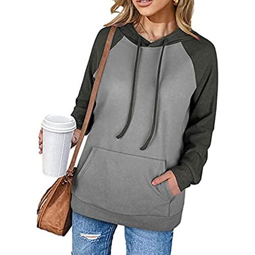Tekaopuer Sudadera de manga raglán en contraste, con capucha y bolsillo, sudadera informal con capucha para mujer, gris, S