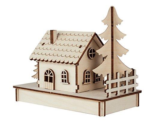 Rayher 46299000 Kit de construcción Casa de madera con piezas entrelazadas, Conjunto...