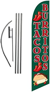 Tacos Burritos Mexican Restaurant Advertising Feather Banner Swooper Flag Sign with Flag Pole Kit and Ground Stake