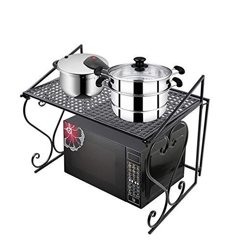 PUCLST Los estantes de usos múltiples Rejilla de Horno de microondas Estante y Organizador de Cocina de 2 Niveles Estante de microondas Negro Mate (Color : Negro, tamaño : 55X37X45CM)
