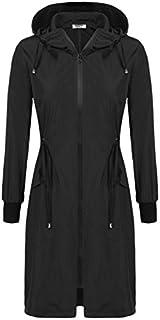 ELESOL Women's Lightweight Waterproof Long Raincoat Hood...