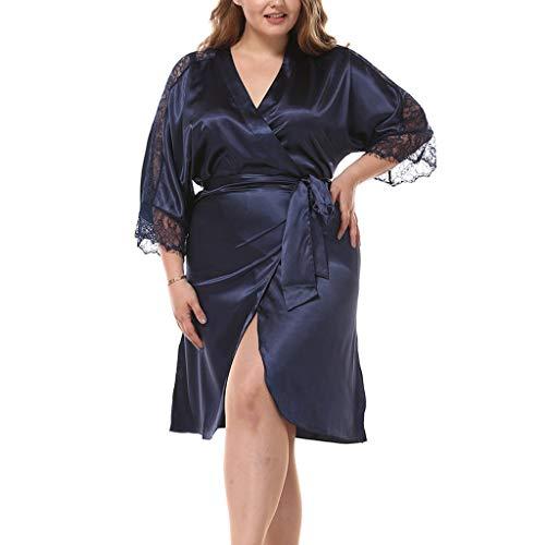 Buy Bargain Hli-SHJHsmu Women's Sexy Plus Size Lace Patchwork Lace Up Open Front Imitated Silk Sleep...