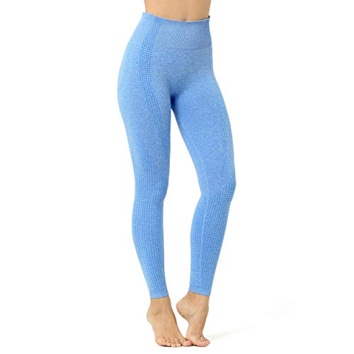 Aoxjox Women's High Waist Workout Gym Vital Seamless Leggings Yoga Pants (Sky Blue Marl, Small)
