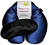 Happy Wraps Microwavable Herbal Neck Wrap - Hot Cold Aromatherapy Neck Warming Pillow - Heating Pad for Migraines, Stress, Gifts for Women, Birthdays, Christmas and Free Sleep Mask - Sapphire