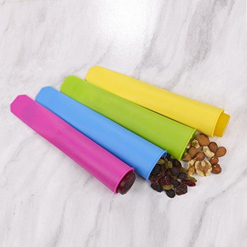 Silikonform für Eis am Stiel mit Deckel Buntes Eis am Stiel, das schnell einfriert und lange hält Leicht zu greifen und sauber zu halten 100% fettfrei 8er-Pack