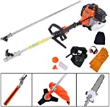 YUYUE 6 in 1 52cc Multifunctional Lawn Mower Gasoline Fence Trim Electromechanical Saw Brush Cutter Saw with Extension Rod,Earmuffs,Gloves