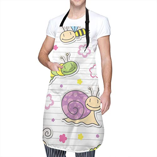Waterproof Breathable Apron Print Illustration Pattern with Insects and Snails 2 Pockets and Adjustable Bib, Best for Kitchen, Lab Work, Painting, Pet Grooming, Unisex